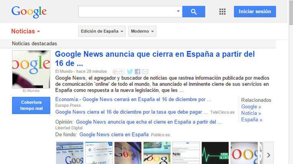 Ikke overraskende er det mange spanske aviser som i dag skriver om at Google News skal legges ned i Spania.