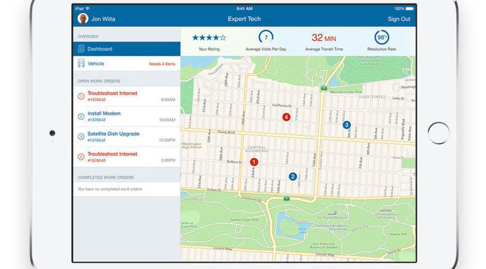 Expert Tech for iOS fra IBM er et eksempel på de nye bedriftsapplikasjonene som er et resultat av samarbeidet Apple og IBM innledet i sommer. Appen er beregnet for teleselskaper og skal kunne bidra til bedre produktivitet og mer effektiv retting av problemer gjennom blant annet ruteoptimalisering, med blant annet økt kundetilfredshet som resultat.