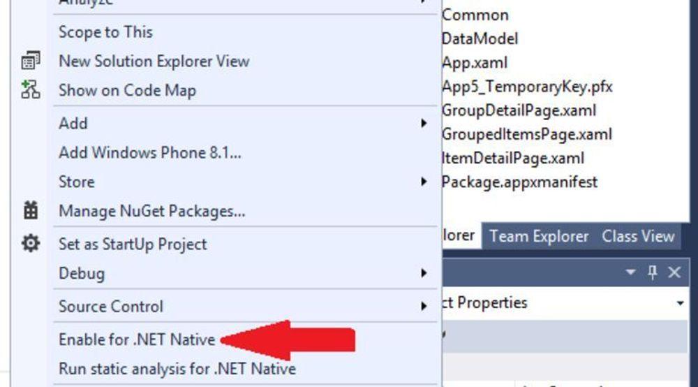 Aktivering av .NET Native i Visual Studio.