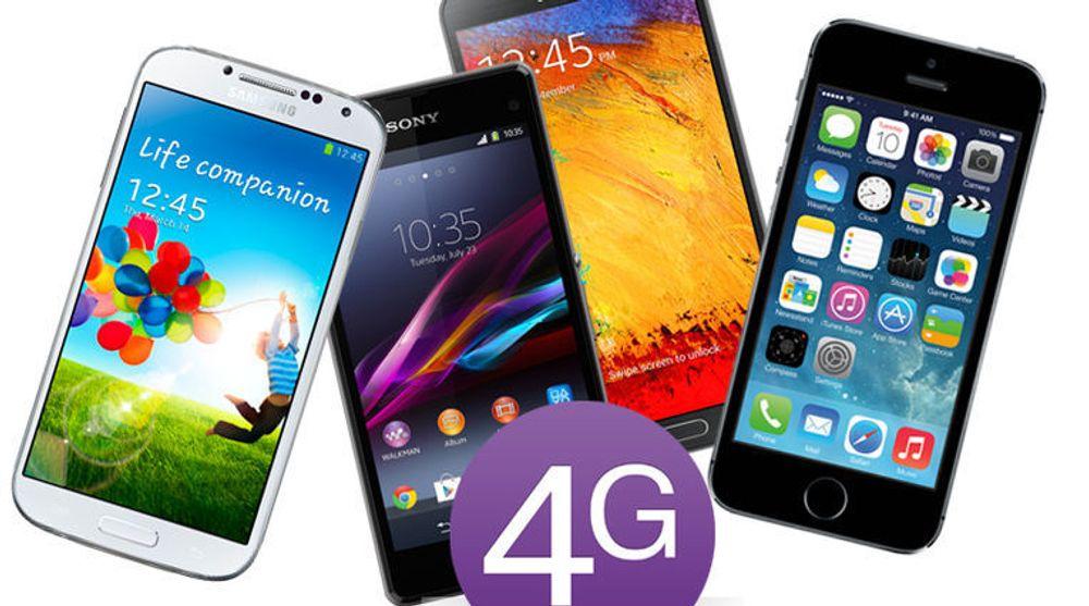 Et knippe av de mest populære smartmobilene med 4G-støtte i mars 2014.