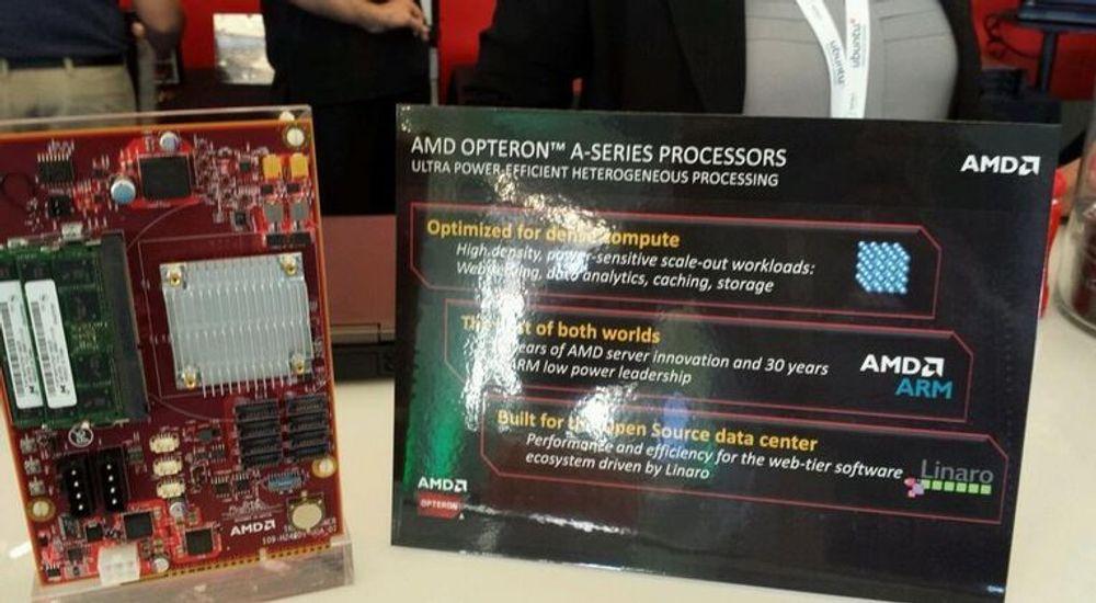 AMD introduserte i går selskapets første AMD-baserte serverprosessor sammen med en utviklerplattform basert på kortet som vises til venstre på bildet. Kortet er basert på en systembrikke fra den kommende Opteron A1100-serien.