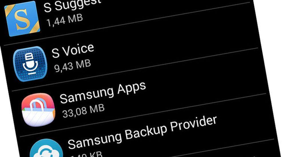 Samsung er blant smartmobilleverandørene som utstyrer selskapets produkter med mange applikasjoner som ikke kan avinstalleres. Nå møter selskapet motstand mot dette på hjemmemarkedet. Bildet viser noen av appene som følger med Samsung Galaxy S3.