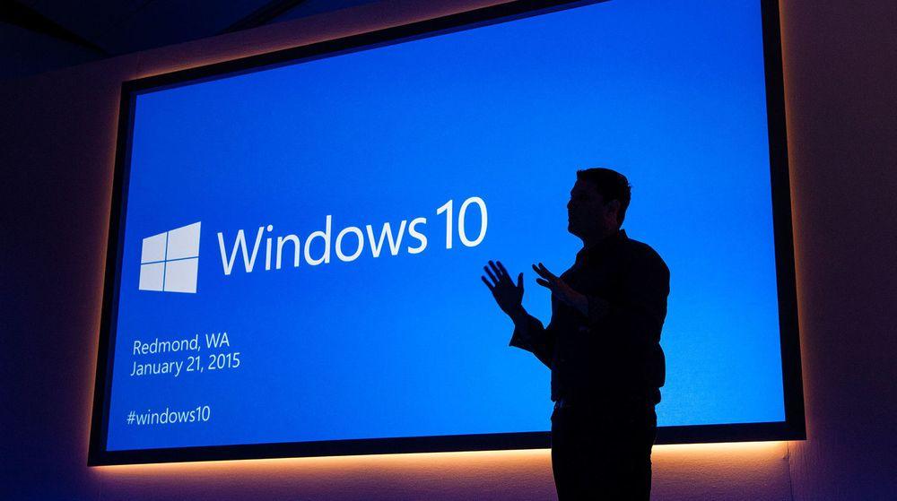 Windows 10 tas raskere i bruk enn de to nyeste forgjengerne. Men det at oppgraderingen til Windows 10 i utgangspunktet er gratis, har trolig at stor betydning. Bildet er fra en Windows 10-presentasjon for omtrent en år siden.
