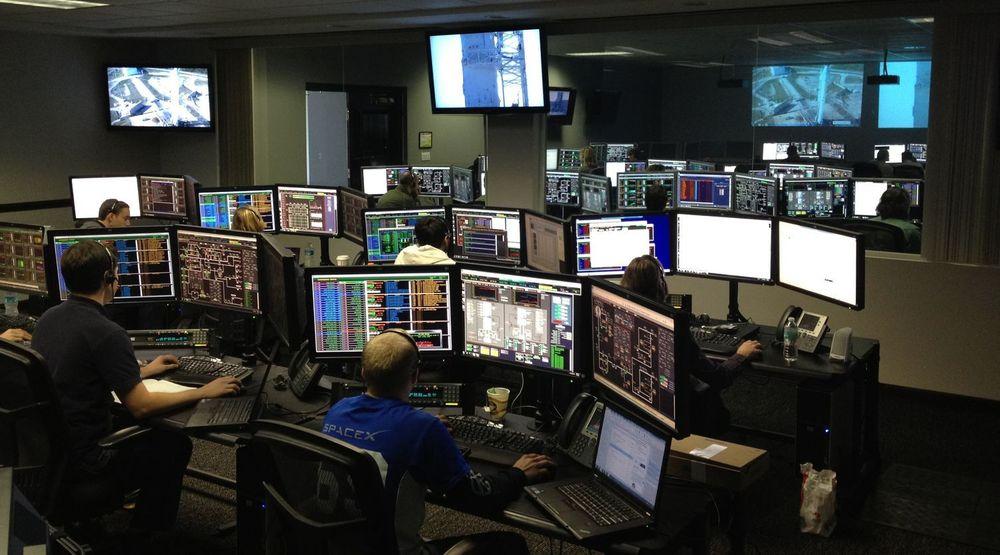 Oppskytningskontrollen til SpaceX ved Cape Canaveral, Florida, under en simulert oppskytning i 2012.