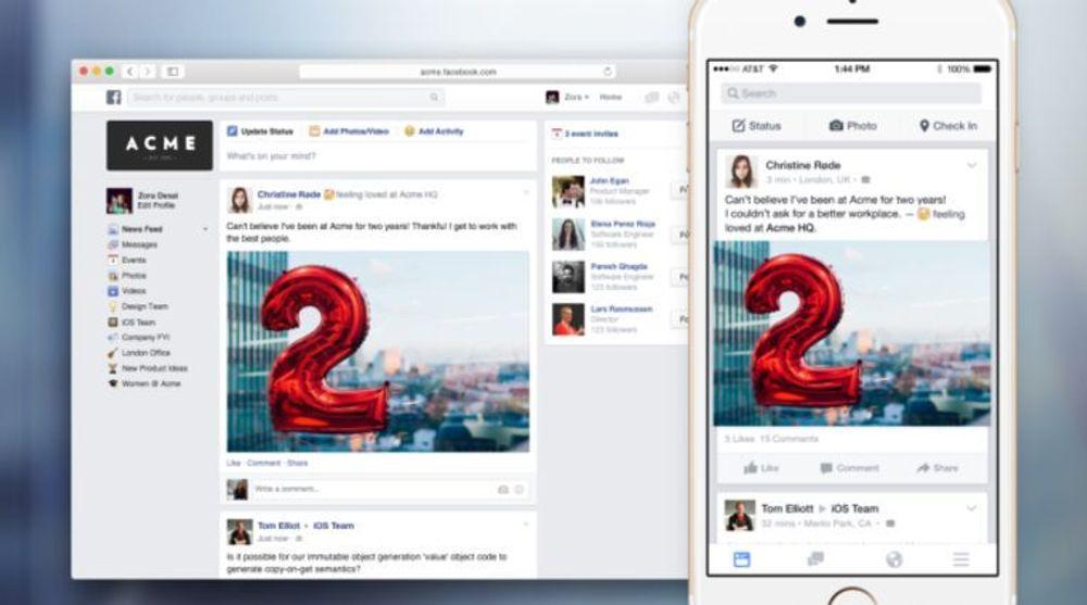 FB @ Work har et kjent grensesnitt, men tilpasset for bedriftsbruk.