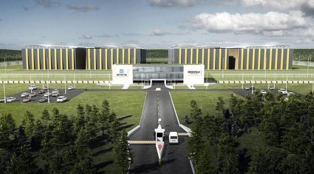 Den norske datasenterindustrien sier den sliter i konkurransen med sine nordiske naboer på grunn av høyere strømpriser. Her en skisse fra de første og mer storslåtte planene for Greenfield Data Center på Fet i Akershus.