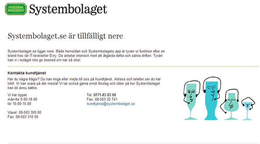 Systembolagets nettsted er blant de svenske nettstedene som er rammet etter en brann ved én av Evrys datasentraler i Sverige.