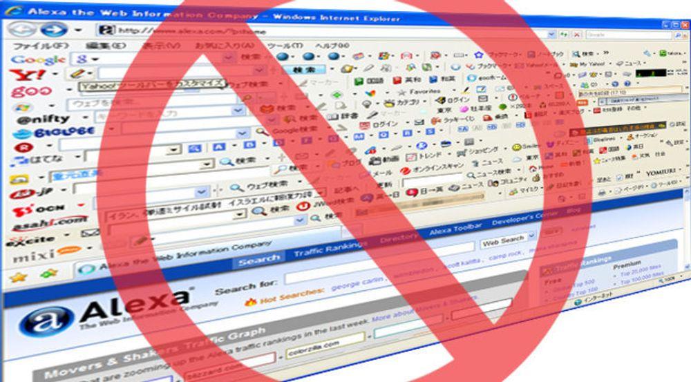 Google nevner verktøylinjer (toolbars) som gjør ønskede endringer i nettleseroppsettet som noe de vil bekjempe. Eksempelbildet er riktignok fra Microsoft Internet Explorer, men viser hvor ille det kan gå når plugins stjeler all oppmerksomheten, på bekostning av vanlig innhold i nettleseren.