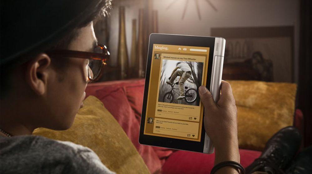 Hold-modus gjør det komfortabelt å holde brettet med én hånd under lesing.