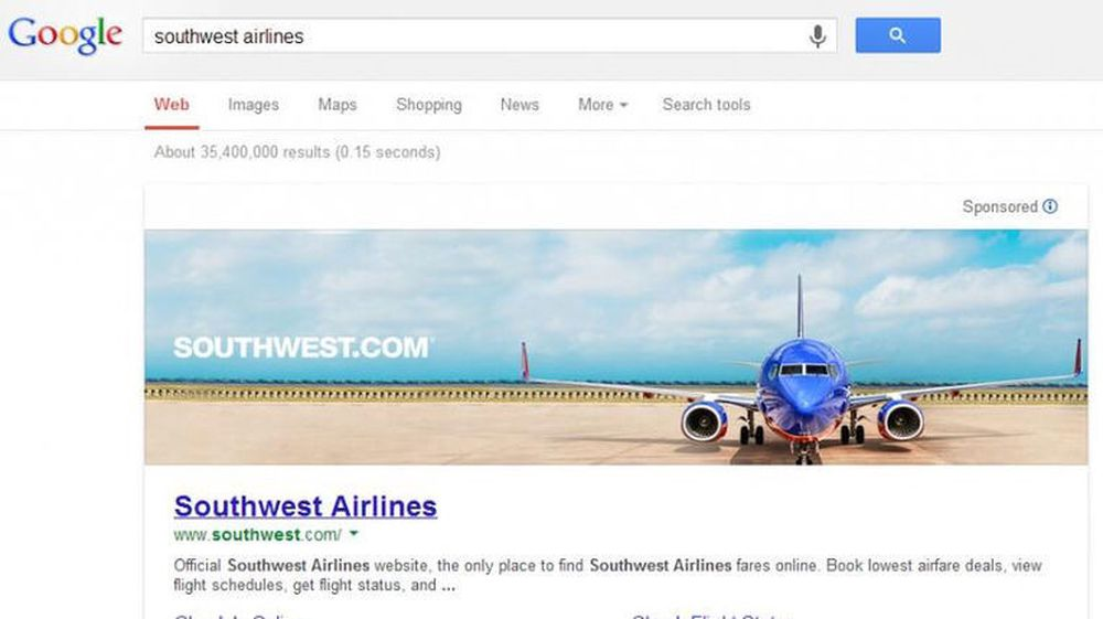 Google har siden starten i 1998 fremholdt at søkemotoren skal ha en mest mulig renskåret og enkel utforming, blant annet uten banner-annonser. Som dette bildet viser kan den tiden være over.