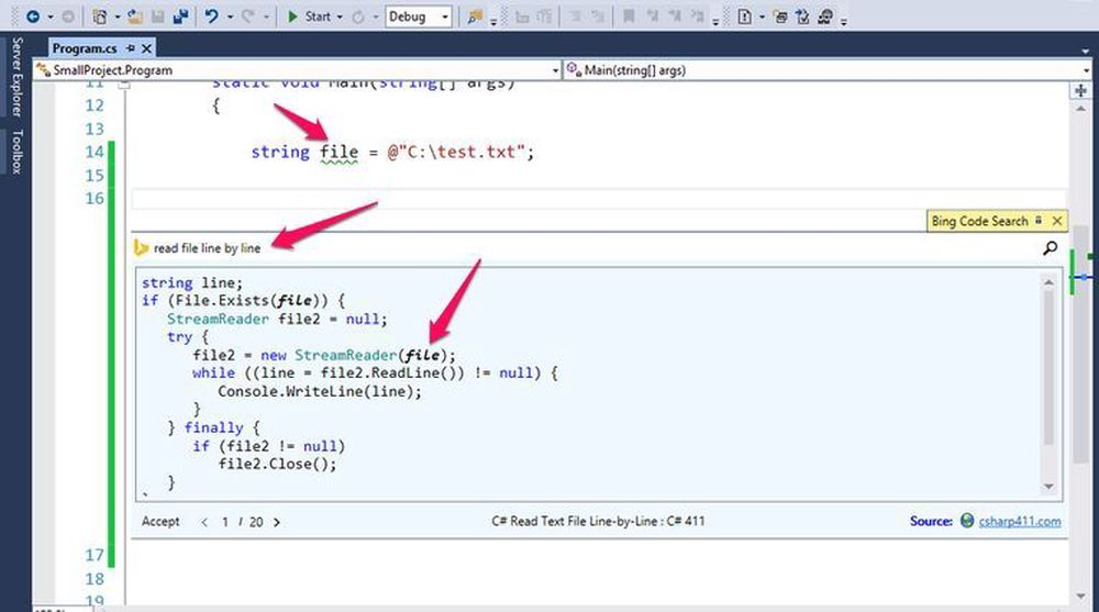 Ved hjelp av den eksisterende koden (øverst) og stikkord om hva utvikleren ønsker å gjøre, presenterer Bing Code Search for C# eksterne kodeeksempler direkte i Visual Studio som utvikleren enkelt kan integrere.