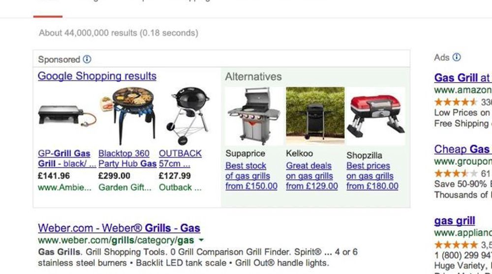 Google forplikter seg i avtalen til blant annet å slippe konkurrentene mer til på selskapets søkesider, slik eksempelet over viser.