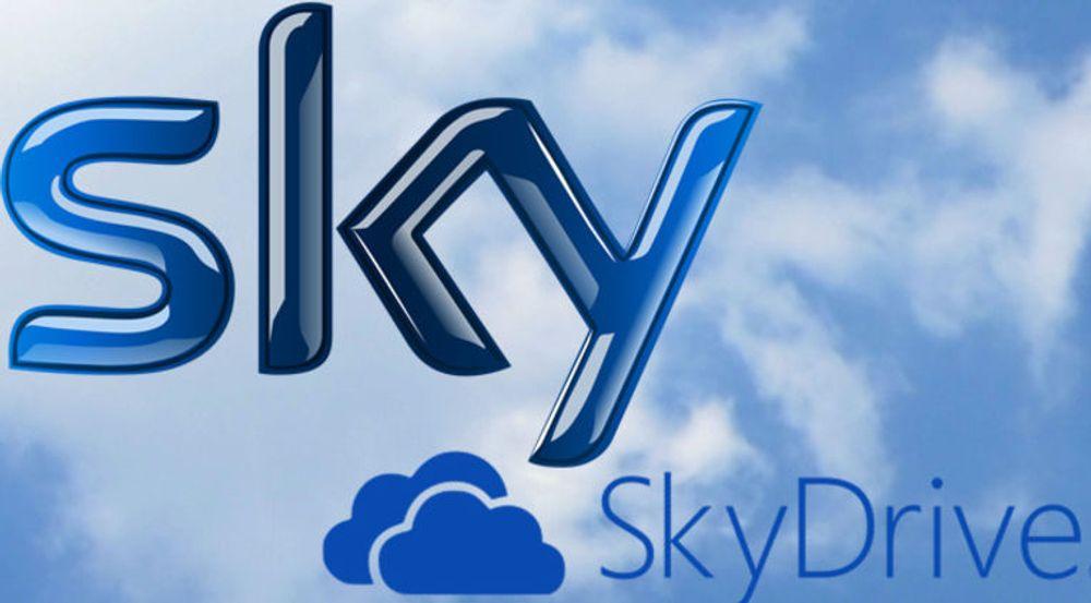 NAVNESTRID: Mange nordmenn vil kjenne igjen Sky fra opprinnelsen som Sky Channel, som på 1980-tallet ble en av de første utenlandske kanalene på kabel-tv. Selskapet som nå er deleid av News Corp eier logoen til venstre i denne montasjen. SkyDrive er Microsofts skytjeneste for synkronisering av innhold på tvers av Windows-enheter.