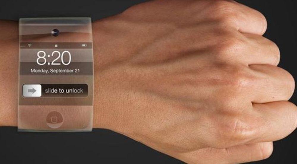 Konseptbilde av hvordan en designer tenker seg at Apples smartklokke kan se ut, muligens med Samsung-teknologi for bøyelige skjermer.