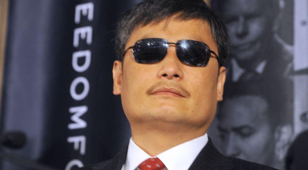 Den blinde kinesiske menneskerettsforkjemperen Chen Guangcheng på åpningen til konferansen Freedom Forum i Oslo i forrige måned.