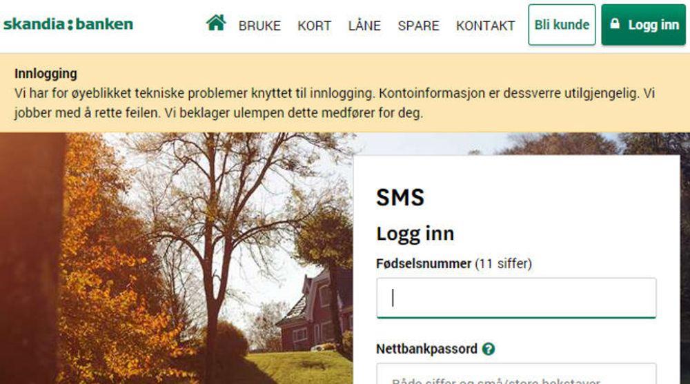 Skandiabankens kunder har det meste av dagen blitt møtt med en feilmelding.