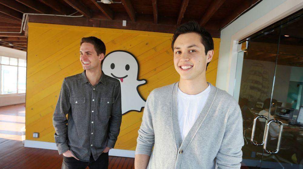 Snapchat-gründerne (fra v.) Evan Spiegel og Bobby Murphy har nektet å selge unna bedriften sin til Facebook.