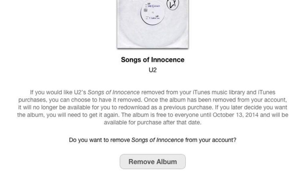 Det er nå veldig enkelt å slette Songs of Innocence fra iTunes.