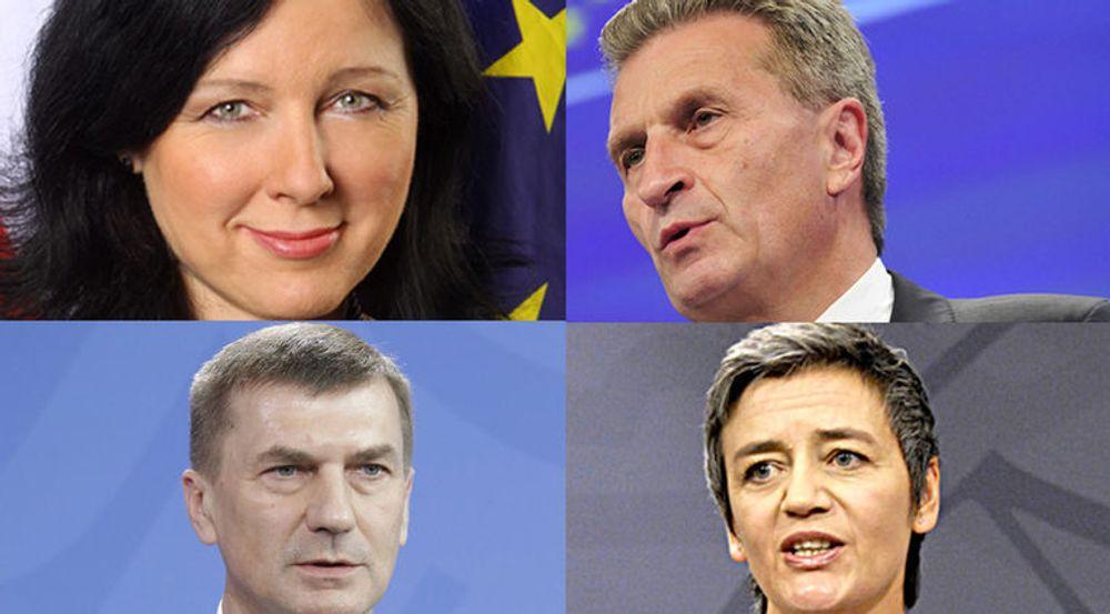 Věra Jourová (øverst til venstre), Günther Oettinger (øverst til høyre), Andrus Ansip (nederst til venstre) og Margrethe Vestager (nederst til høyre) er de kommende EU-kommissærene som får største makt over IT- og kommunikasjonsbransjene i de kommende årene.
