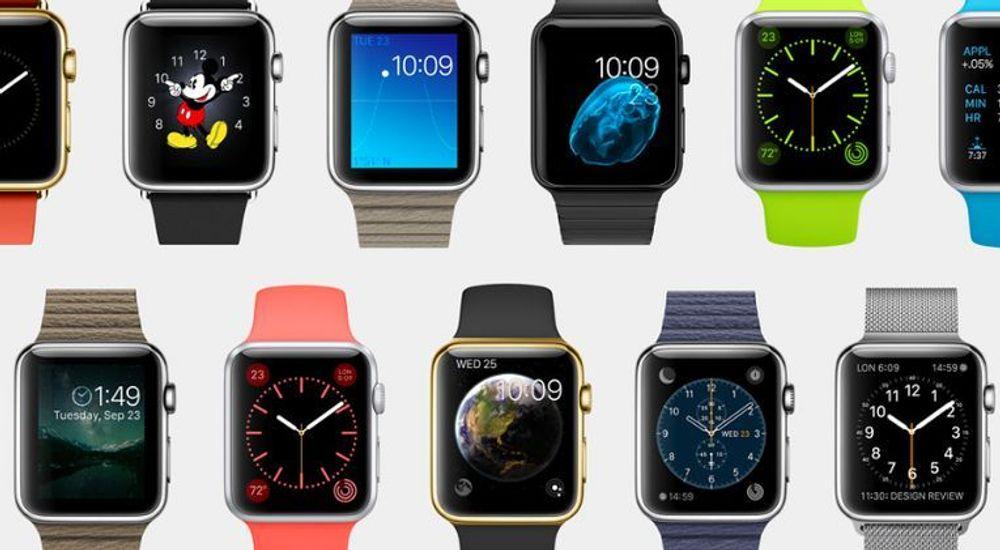 Slik ser Apple Watch ut, den vil finnes i to skjermstørrelser og tre varianter, pluss at man vil kunne tilpasse den med en lang rekke remmer.