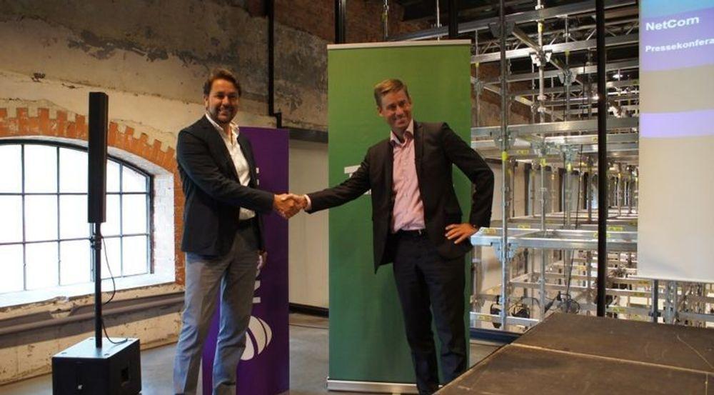 Konkurransetilsynet har ikke bestemt seg for om de vil gripe inn mot telefusjonen. Bildet er fra pressekonferansen i sommer da (fra v.) Tele2-sjef Arild Hustad og Netcom-topp August Baumann presenterte planene.