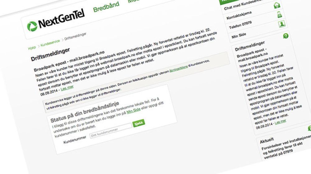 NextGenTel jobber på andre døgnet for å ta opp e-postsystemet etter et harddisk-havari. Opptil 30.000 kunder kan være berørt.