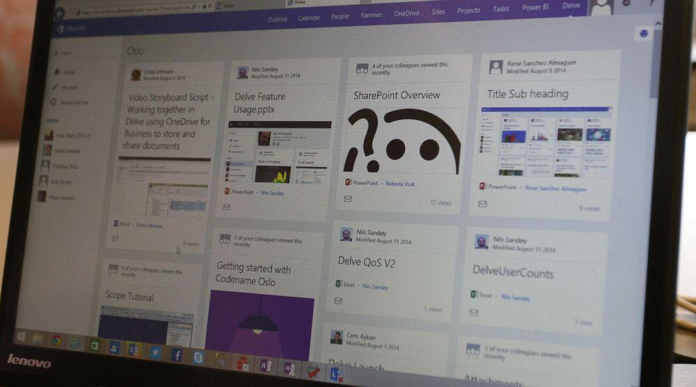 """Med norskproduserte Delve får Office 365-brukere i bedriften relevant informasjon om hva som skjer og produseres levert i en løpende aktivitetsstrøm, der man kan """"like"""" og kommentere innhold som på Facebook. Innholdet dukker opp basert på mennesker du følger i organisasjonen, møter som avholdes og så videre."""