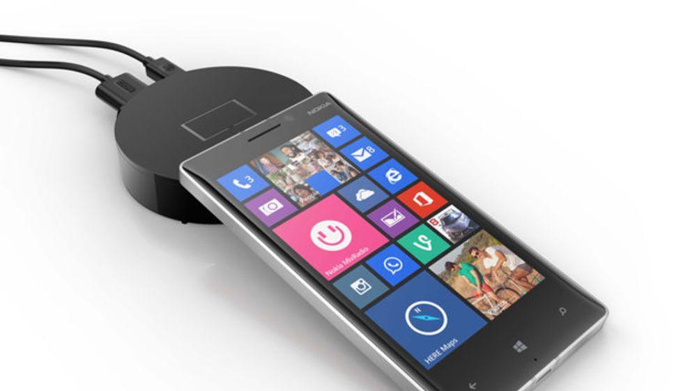 Microsoft nye, hockeypuck-lignende enhet skal gjøre det enkelt å koble Lumia-telefoner til for eksempel en tv. Enheten får strøm via en USB-kabel.
