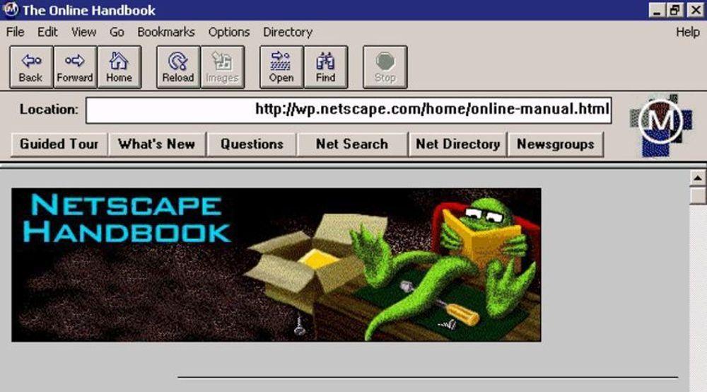 Slik så Netscape 0.9 ut. På bildet kjøres nettleseren dog i det langt nyere operativsystemet Windows XP.