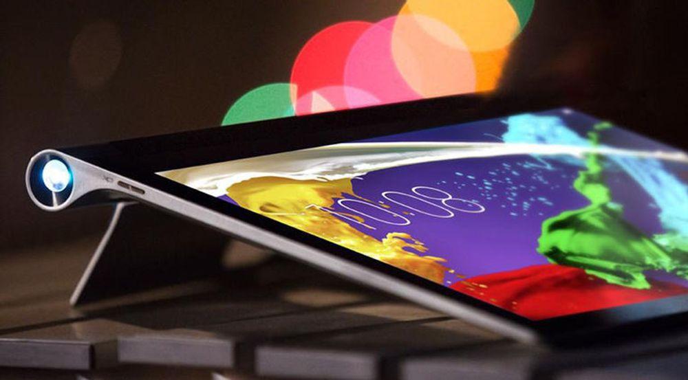Lenovo Yoga Tablet 2 Pro har innebygd projektor i foten.