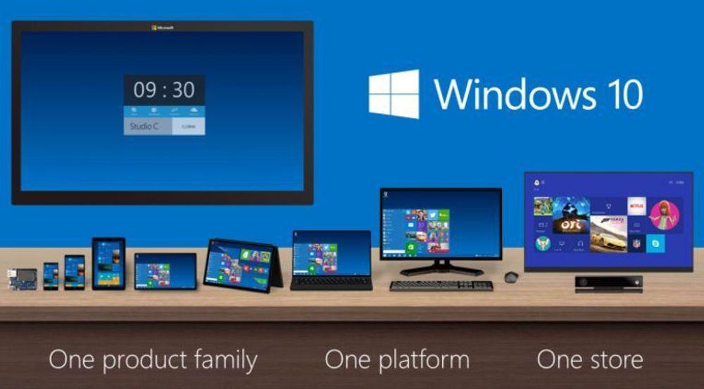 Bildet viser at Windows 10-familien vil kunne kjøres på tvers av enheter med svært forskjellige skjermstørrelser. Men nå er det klart at Windows 10 også kommer til enheter som ikke engang har skjerm.
