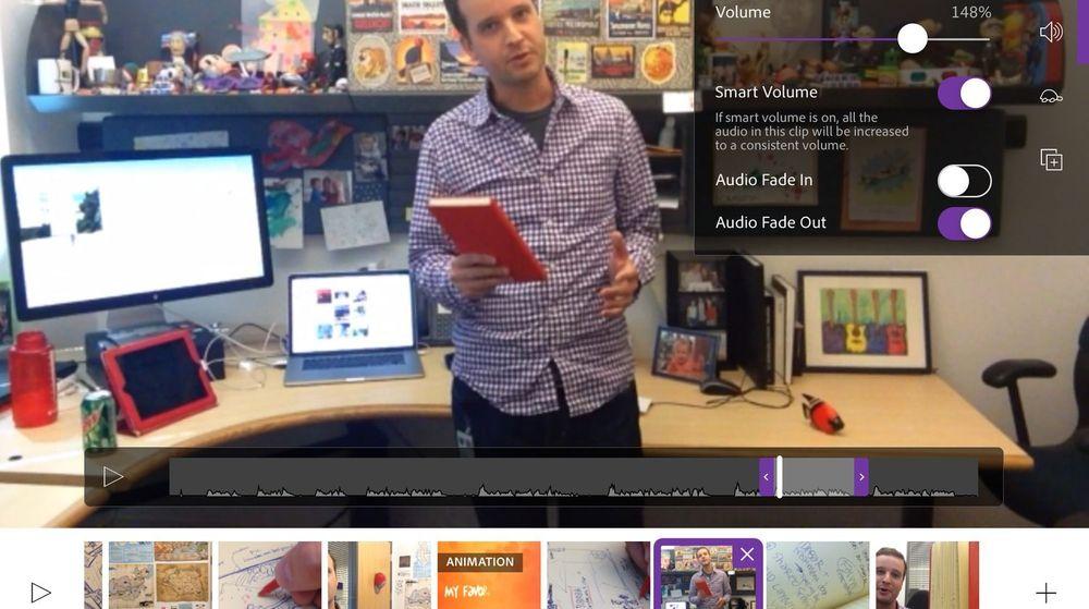 Nye Premiere Clip på en iPad.