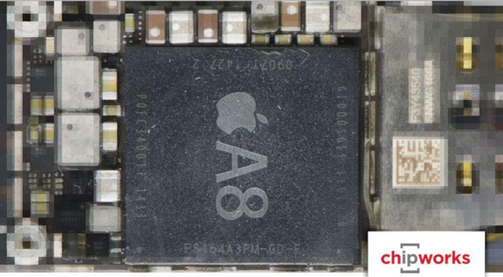 A8-brikken i iPhone 6, stort sett produsert av TSMC.