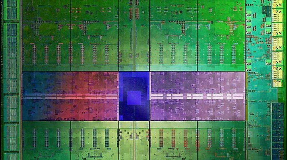 Utsnitt av et forstørret fotografi av Kepler GK110-prosessoren som brukes i Nvidias Tesle-produkter. Brikken består av 7,1 milliarder transistorer. Teknologien kan nå lisensieres av andre for bruk i helt nye produkter.
