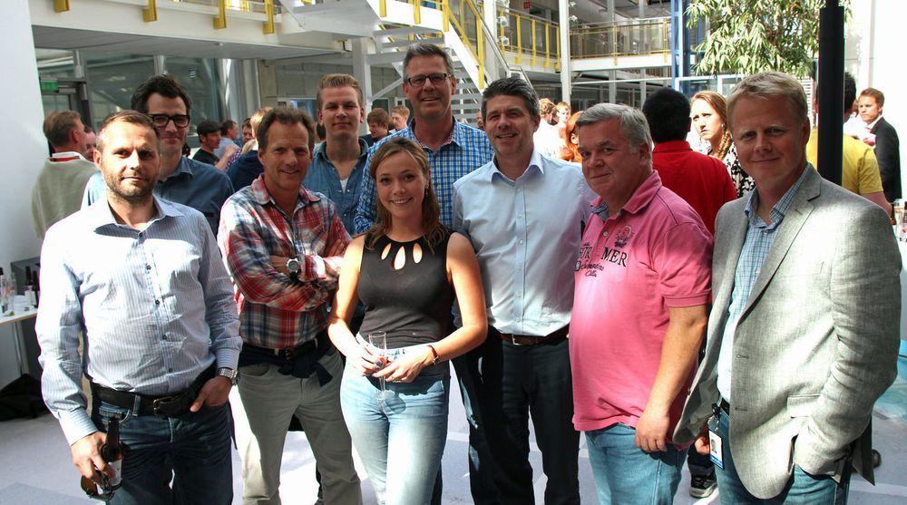 Flere tidligere IT-gründere har slått seg sammen for å finansiere opp gode oppstarts-prosjekter. Initiativet kommer fra StartupLab i Forskningsparken. Fra venstre: Kim Strømsborg (Katalysator), Alexander Woxen, (Intergate, daglig leder i StartupLab), Rolf Assev (Opera Software, Dragonbox), Odd Utgård (partner i StartupLab), Karen Dolva (StartupLab), Tor Bækkelund (Hugin, partner i StartupLab), Erik Bakkejord, (Stepstone, Intility), Ingar Østby (Hugin, Northzone) og Trond Aas (Funcom, Attensi og Norsim).