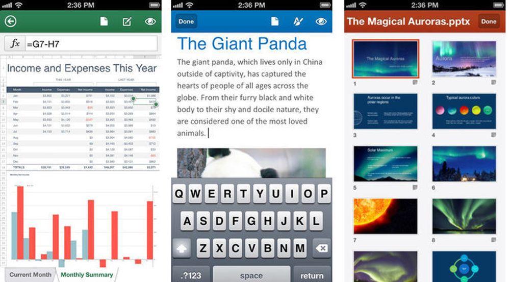 Den nye iOS-appen fra Microsoft inkluderer både Excel, Word og PowerPoint.