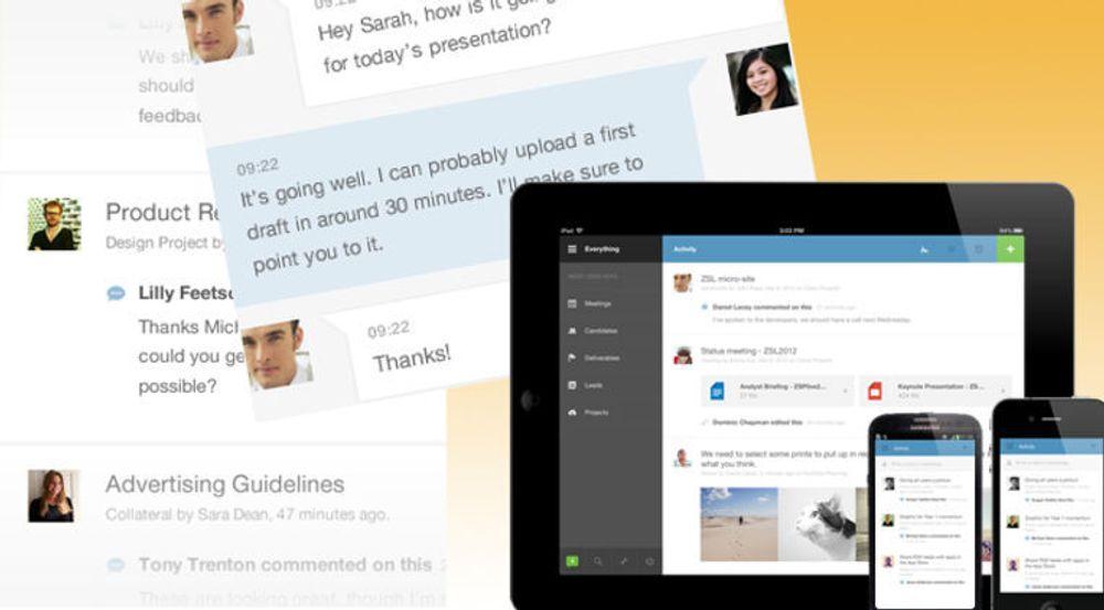 Podio er tilrettelagt for mobil og brett i et grensesnitt inspirert av sosiale tjenester. Til venstre en kommentaroversikt, skråstilt en utveksling i lynmelder.