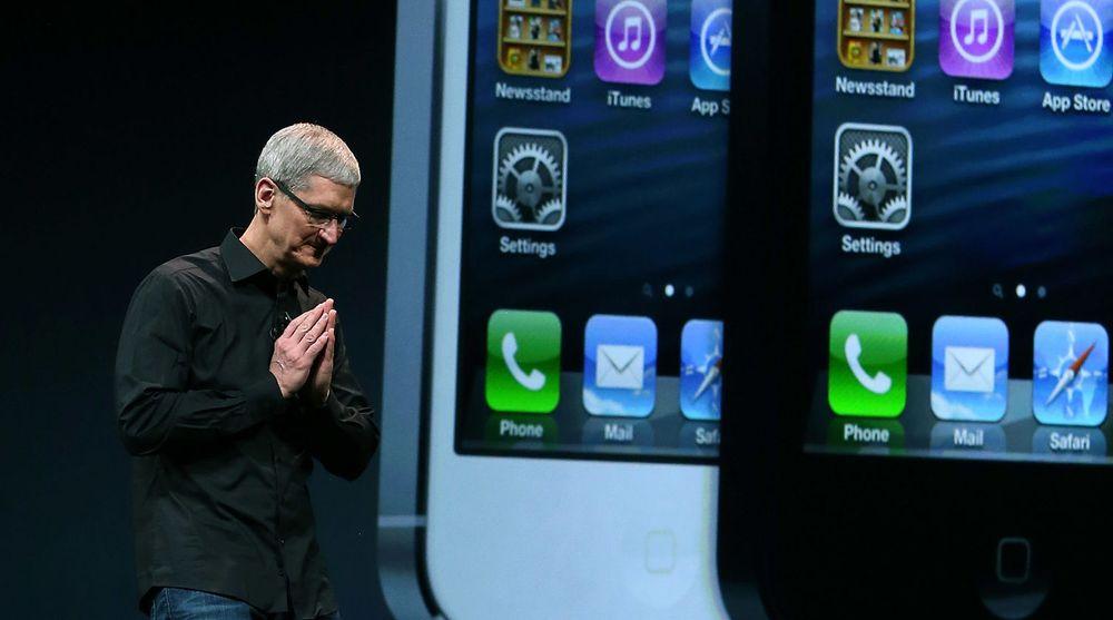 Apple-sjef Tim Cook, under lanseringen av iPhone 5. Produksjonsoppdrag for nye iPhone kan gå til Pegatron framfor Foxconn.
