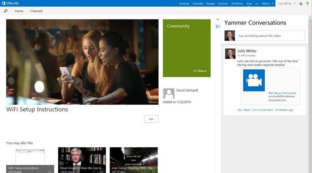 Office 365 Video skal være integrert med Yammer, som dermed kan brukes til både deling og kommentering av videoene.