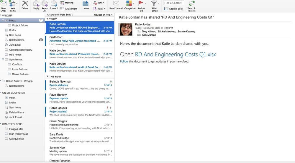 Skjermbilde fra nye Outlook på Mac.