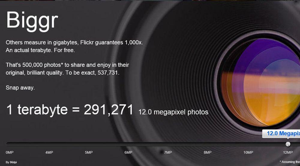 Flickr forteller hvor mye 1 terabyte egentlig utgjør i antall fotografier, her med 12 megapikslers oppløsning.