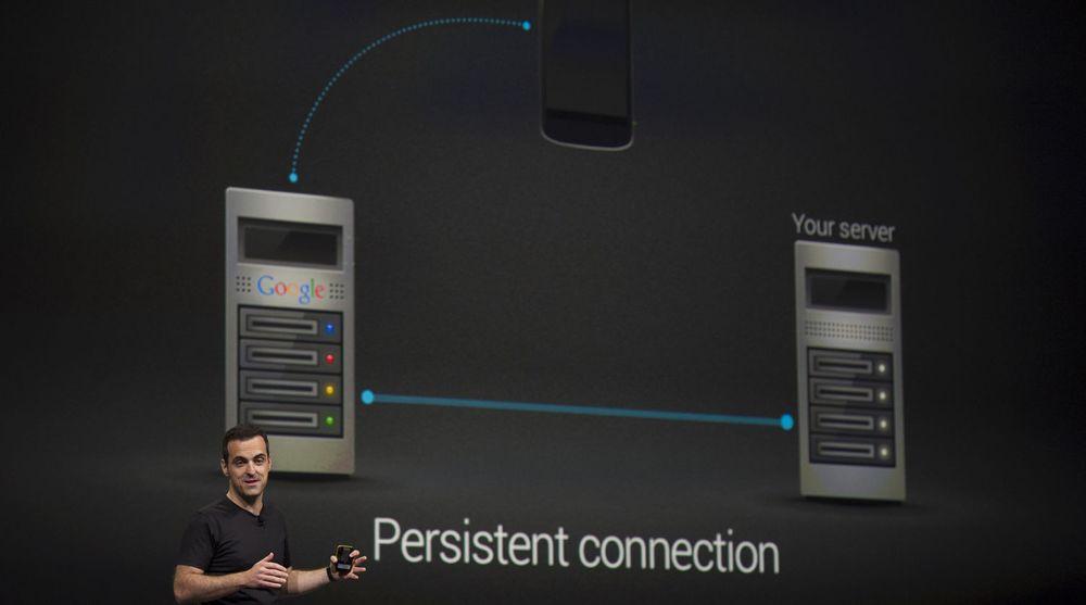 Hugo Barra fortalte blant annet om nyhetene i Google Cloud Messaging under hovedtalen ved Google I/O 2013 i San Francisco i går.