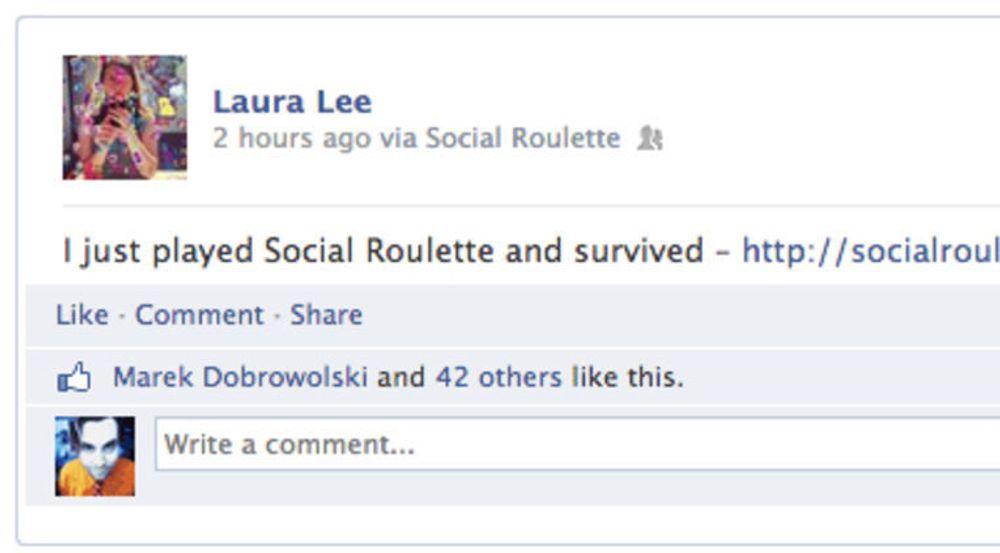 Spillet Social Roulette ble for mye for Facebook. Kort tid etter at spillet ble lansert forrige helg ble det tatt ned. Bildet viser statusoppdateringen som kommer dersom man vant (- eller tapte?)