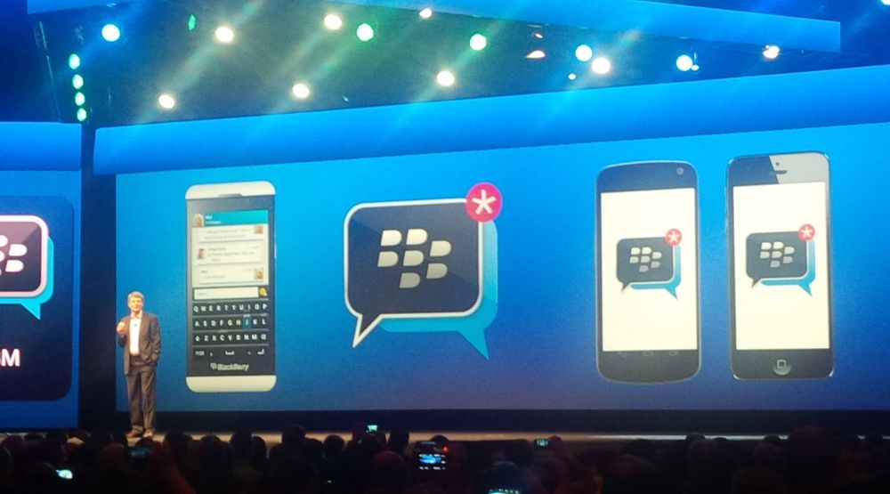 Thorsten Heins kunngjør at Blackberry Messenger kommer til Android og iOS.