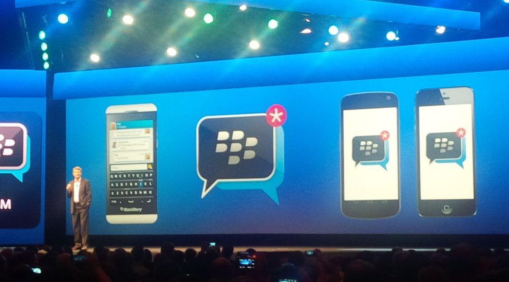 Thorsten Heins kunngjør at Blackberry Messenger kommer til Android og iOS.