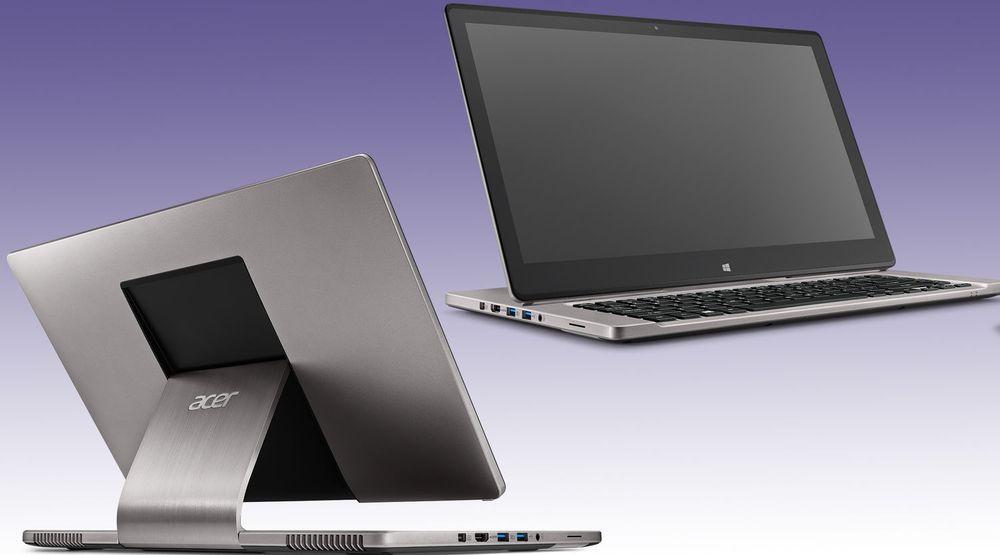 Acer arbeider mye med design for å kunne hevde seg i det stadig vanskeligere pc-markedet. Bildet viser Aspire R7, en bærbar pc med nye løsninger for blant annet skjerm og pekeredskap.