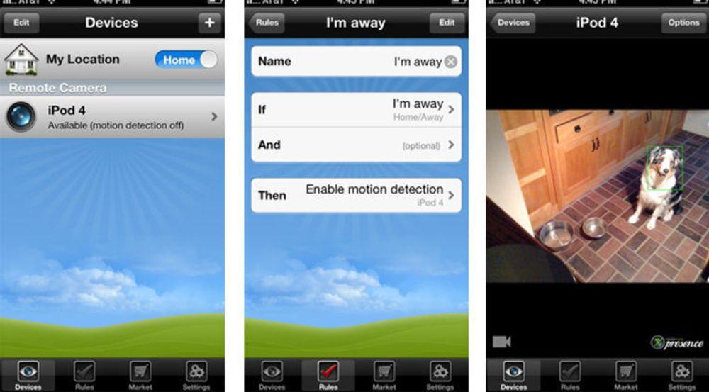 Skjermbilder fra en iPhone som styrer en iPod 4 satt opp som overvåkningskamera. Man kan sette opp regler for å innstille egenskaper som bevegelsessansing, og for hva iPod-en skal gjøre når den sanser en bevegelse. Her sendes et bilde som viser at bikkja er på kjøkkenet.