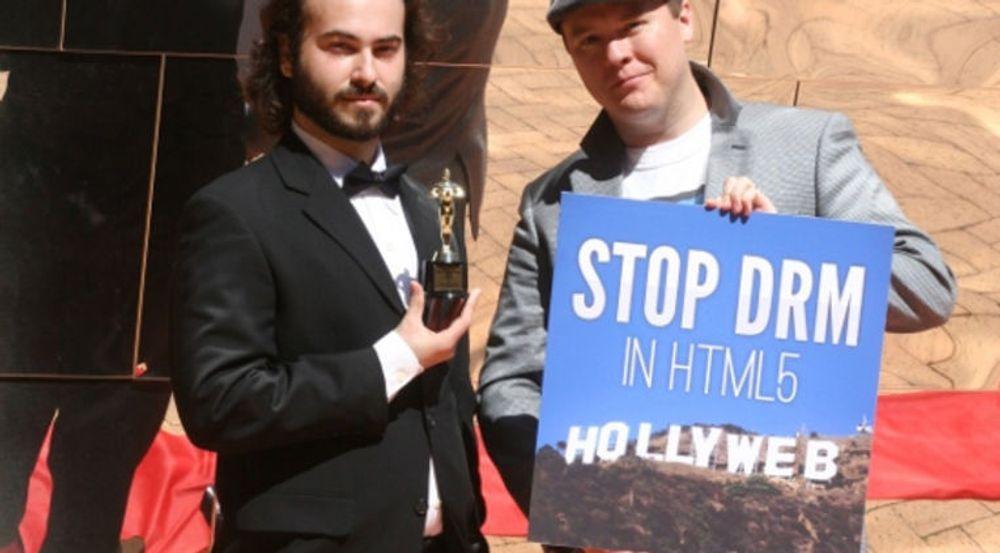 Fra protestaksjonen mot W3C under International Day Against DRM i forrige uke.