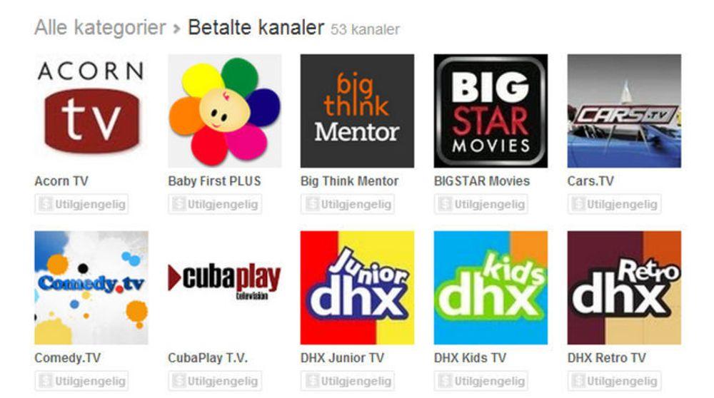 """Utvalget av betalte kanaler i YouTube er foreløpig ganske begrenset. I Norge er samtlige merket med """"Utilgjengelig""""."""
