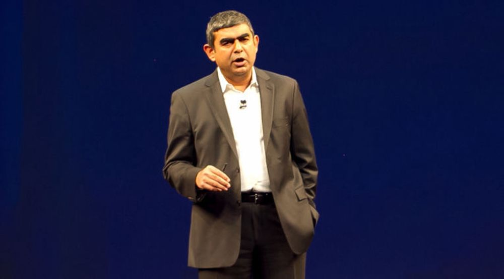 Vishal Sikka sto for lanseringen av SAP HANA Enterprise Cloud i Palo Alto i natt.